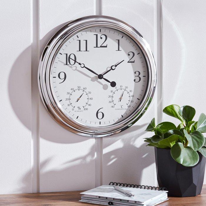 Barometer 41cm Wall Clock Silver Silver