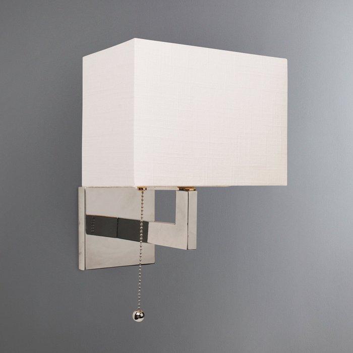 Satu Rectangular Metal White Wall Light Chrome and White