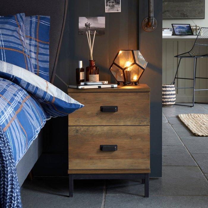 Fulton 2 Drawer Bedside Table Pine