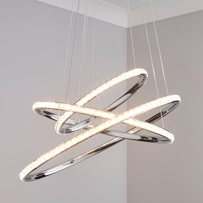 Cali 3 Light Integrated LED Hoop Crystal Ceiling Fitting Chrome