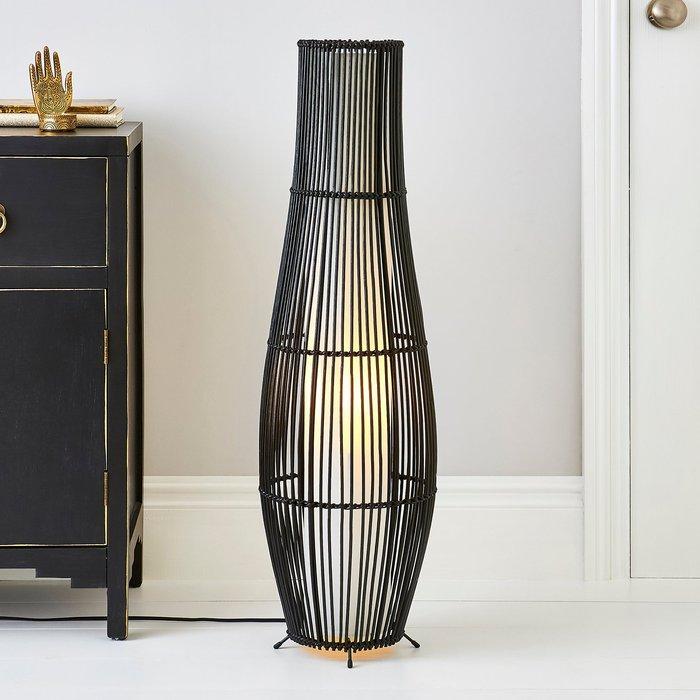 Alec Natural Cane Black Floor Lamp Black