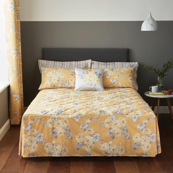 Ashbourne Floral Fitted Bedspread Ochre Ochre (Yellow)