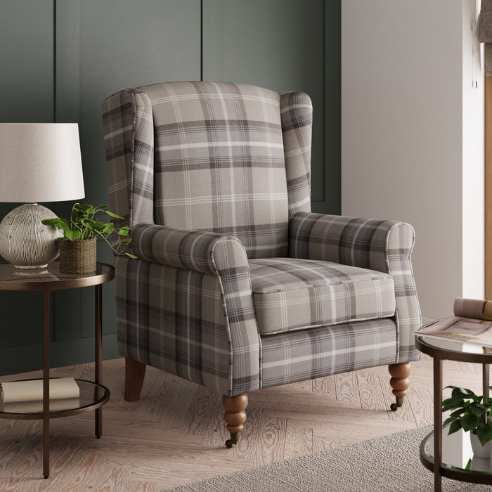 Oswald Grande Check Wingback Armchair - Grey Grey and White
