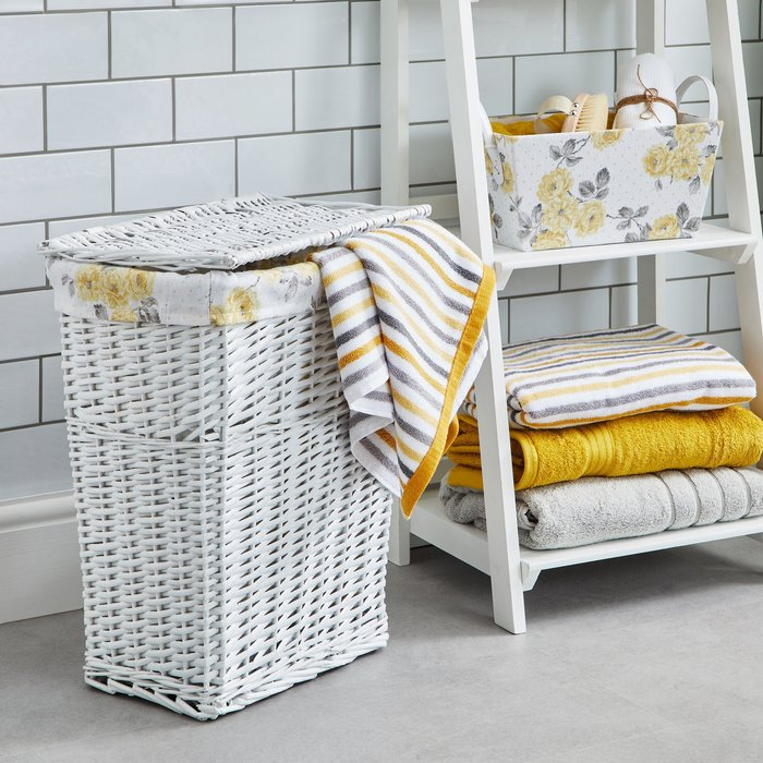 Ashbourne Wicker Laundry Basket Yellow, Grey and White