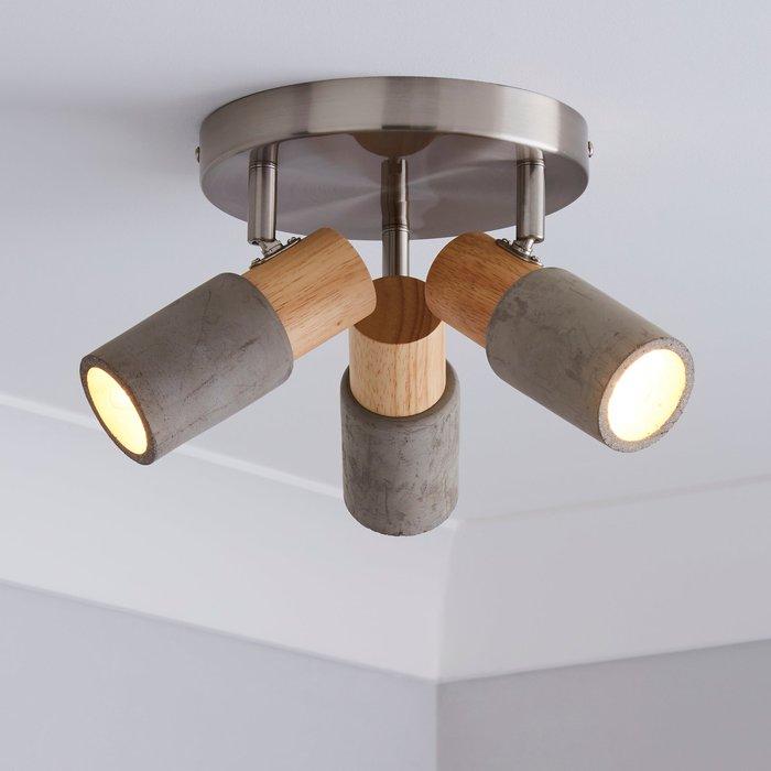 Inka 3 Light Concrete Wood Spotlight Grey and Brown