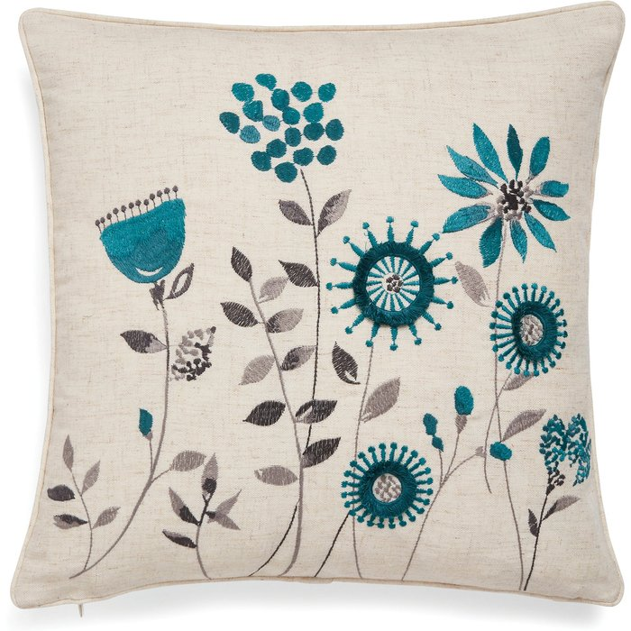Scandi Field Embroidered Cushion Teal