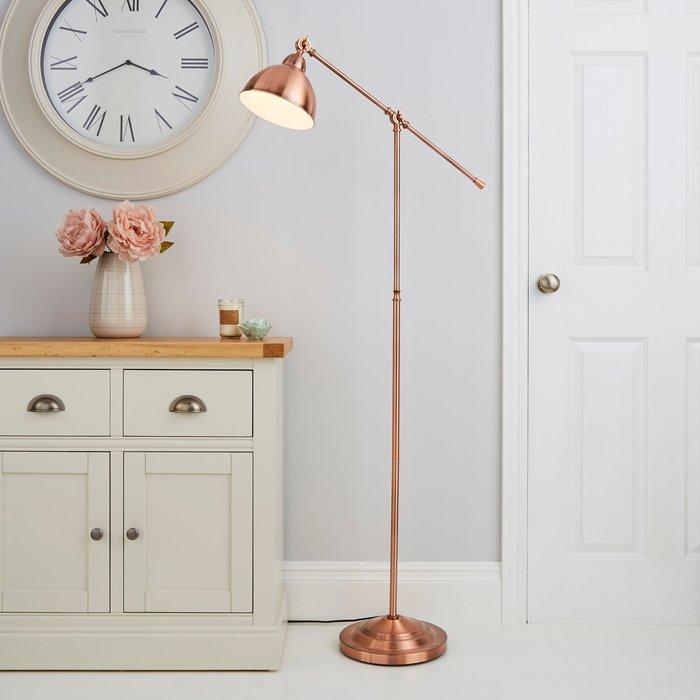 Lever Arm Copper Floor Lamp Gold
