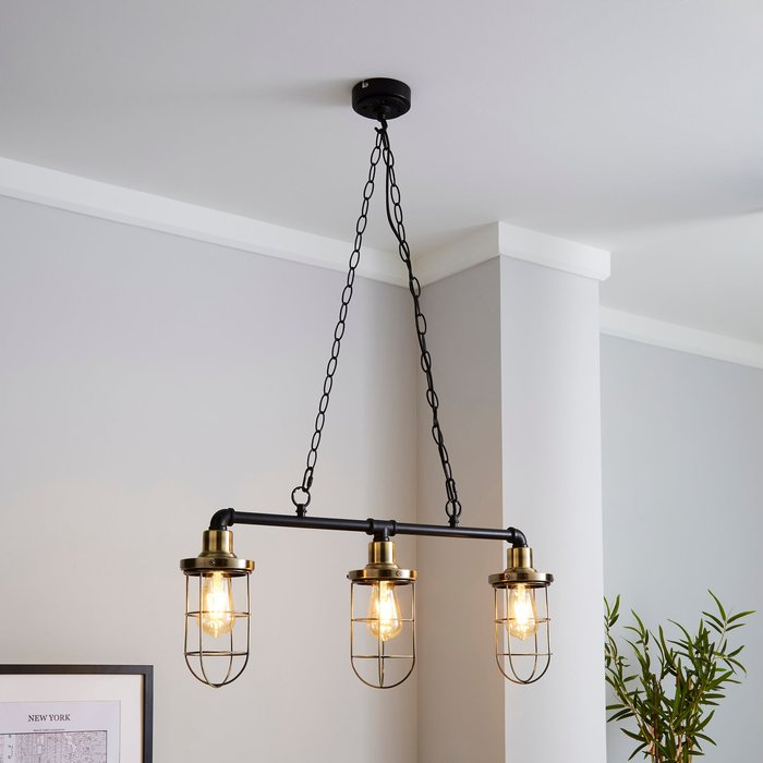 Milas Pipe Industrial 3 Light Bar Black Diner Ceiling Fitting Black