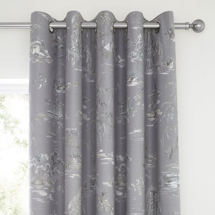 Chinoiserie Grey Blackout Eyelet Curtains Grey and White