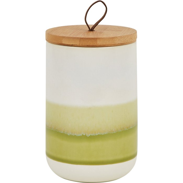 Green Reactive Glaze Kitchen Canister White, Green and Brown