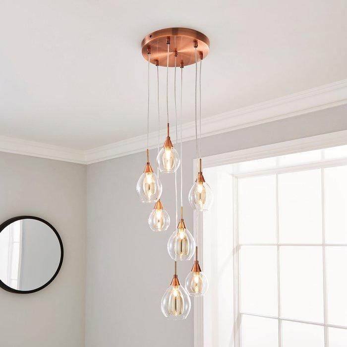 Eden 7 Light Ceiling Fitting Copper Copper