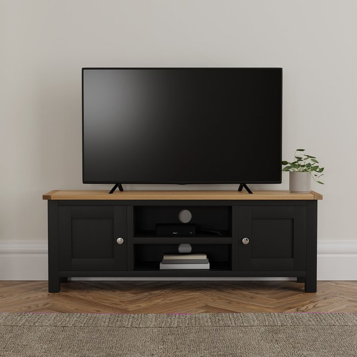 Bromley Black Wide TV Stand Blue and Brown