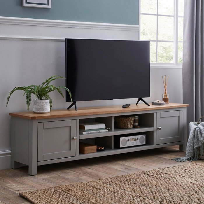 Bromley Grey Extra Wide TV Stand Grey and Brown