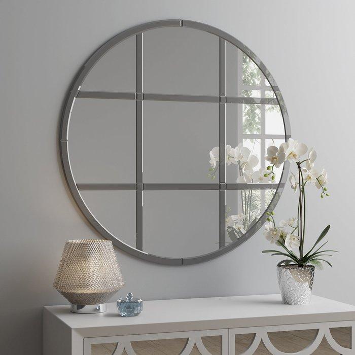 Smoked Luxe Window Circular Mirror 80cm Silver