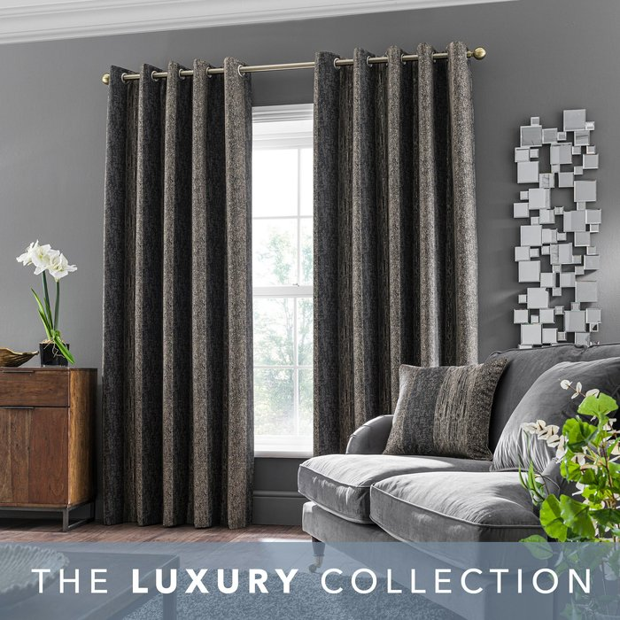 Alexandria Stripe Charcoal Eyelet Curtains Charcoal, Brown and White
