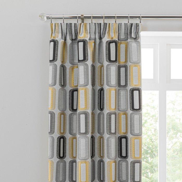 Dahl Ochre Pencil Pleat Curtains Grey, Black and Yellow