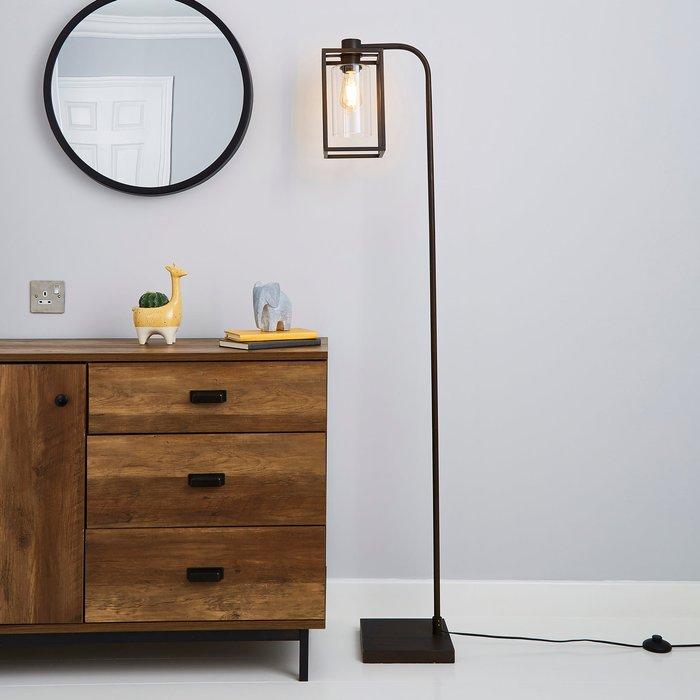 London Bronze Industrial Floor Lamp Brown