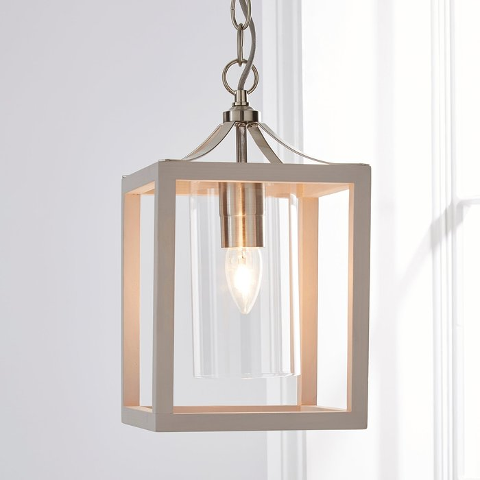 Tove Wooden 1 Light Pendant Ceiling Fitting Grey