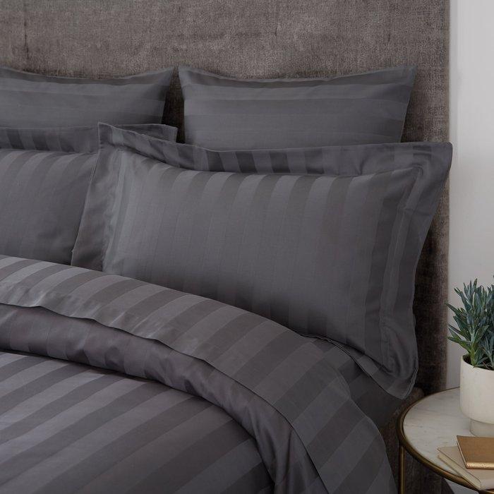 Hotel Egyptian Cotton 230 Thread Count Stripe Oxford Pillowcase Charcoal