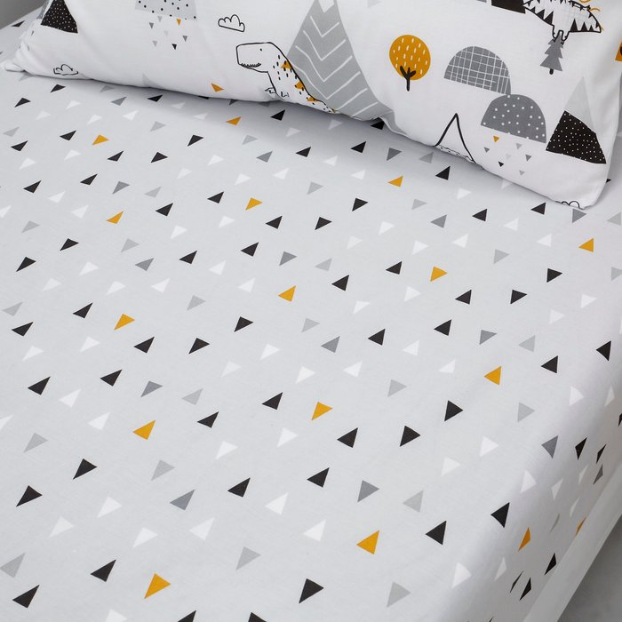 Elements Geosaurus 100% Cotton Fitted Sheet Grey, Yellow and White