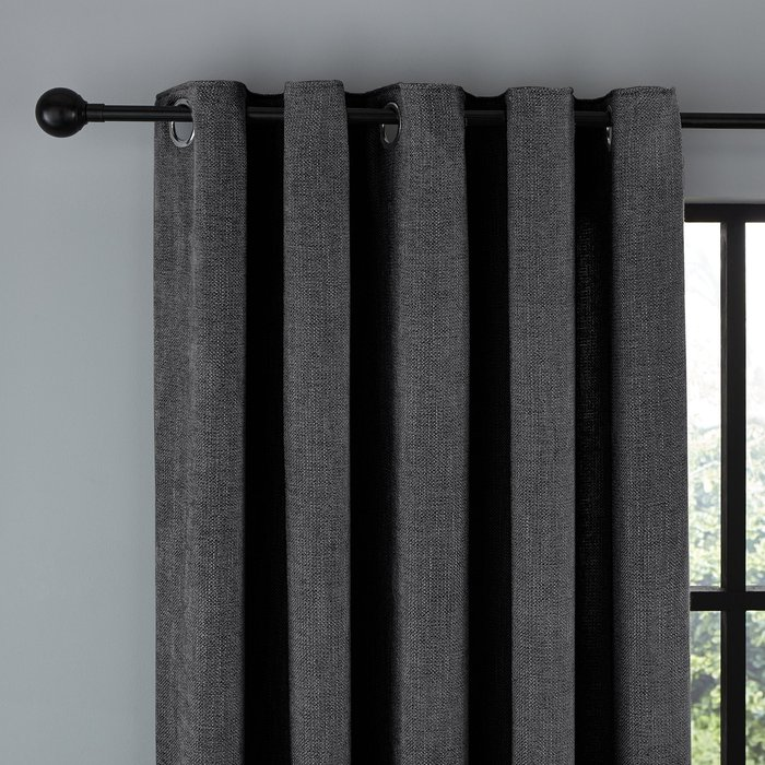 Wynter Charcoal Thermal Eyelet Curtains Charcoal