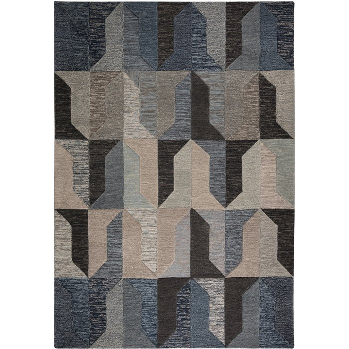 Regent Navy Wool Rug Navy Blue and Grey
