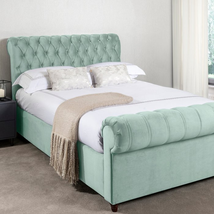 Fabio Velvet Seafoam Bed Frame Green
