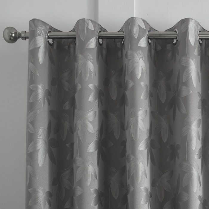 Curtina Romolo Embroidered Silver Eyelet Curtains Silver