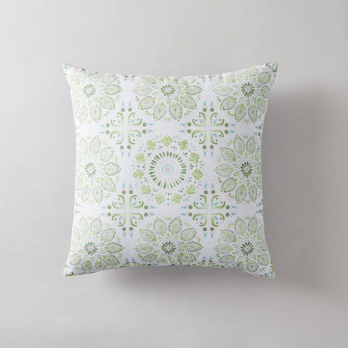 Azami Cushion Green, Blue and White