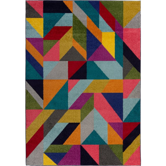 Frida Geometric Rug Blue, Yellow and Red