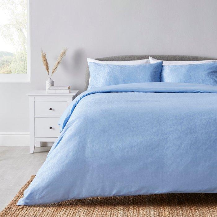 Claudina Jacquard 100% Cotton Reversible Duvet Cover and Pillowcase Set Blue