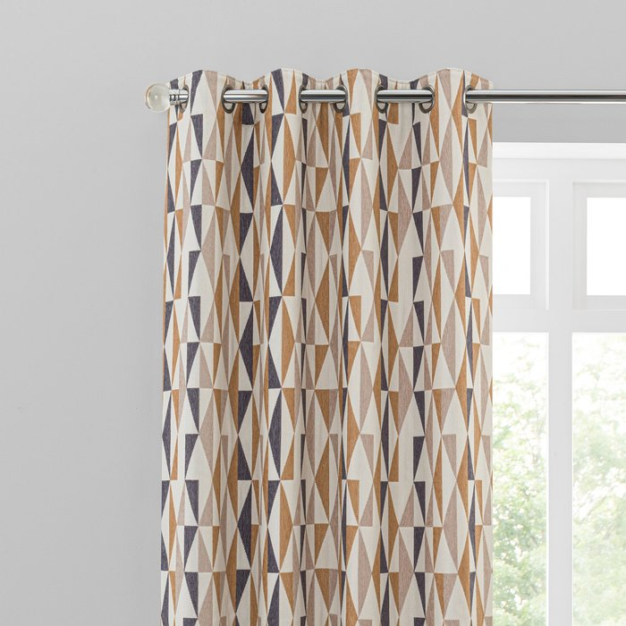 Elements Triangles Toffee Eyelet Curtains Brown, Black and White