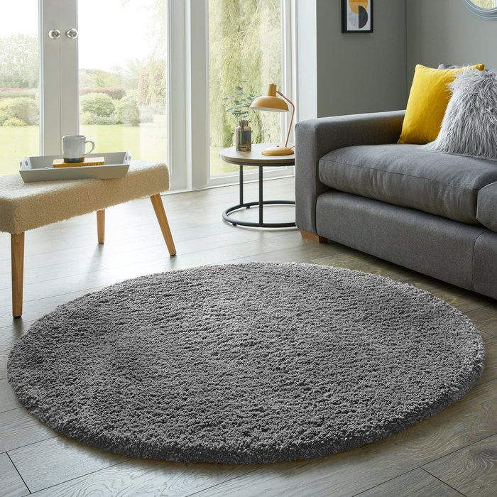 Cosy Teddy Round Rug Charcoal