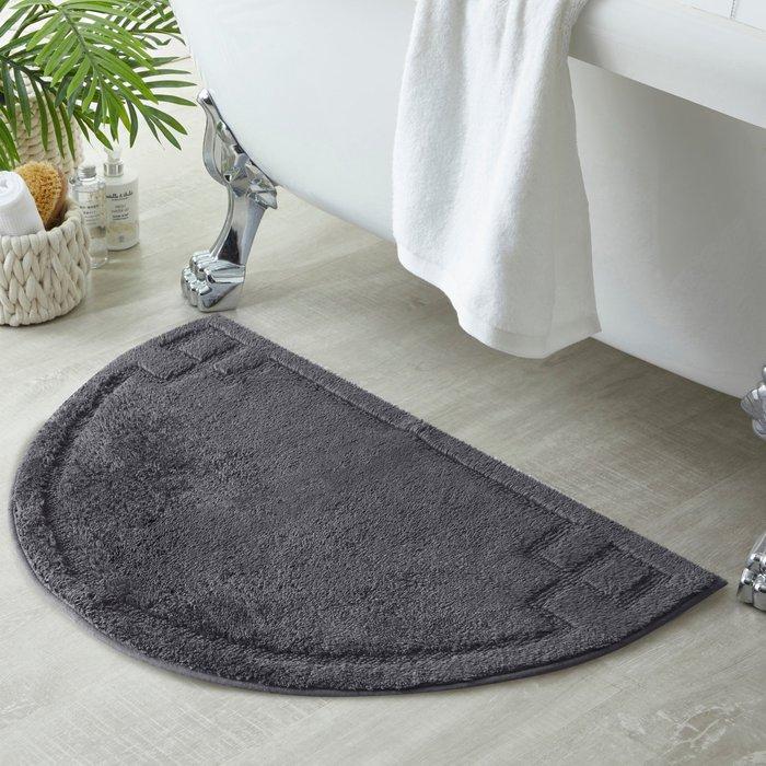 Luxury Cotton Semi Circle Charcoal Bath Mat Charcoal