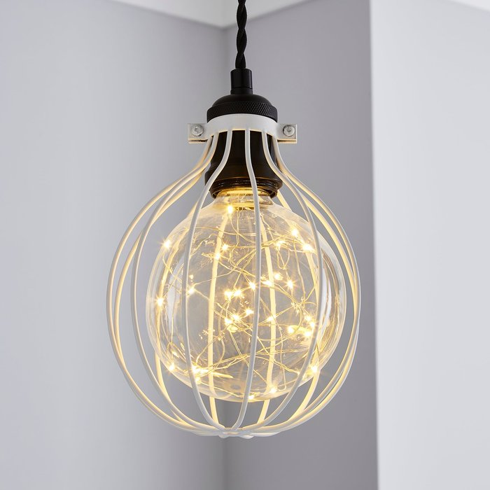 Charlie Industrial Bulb Cage White