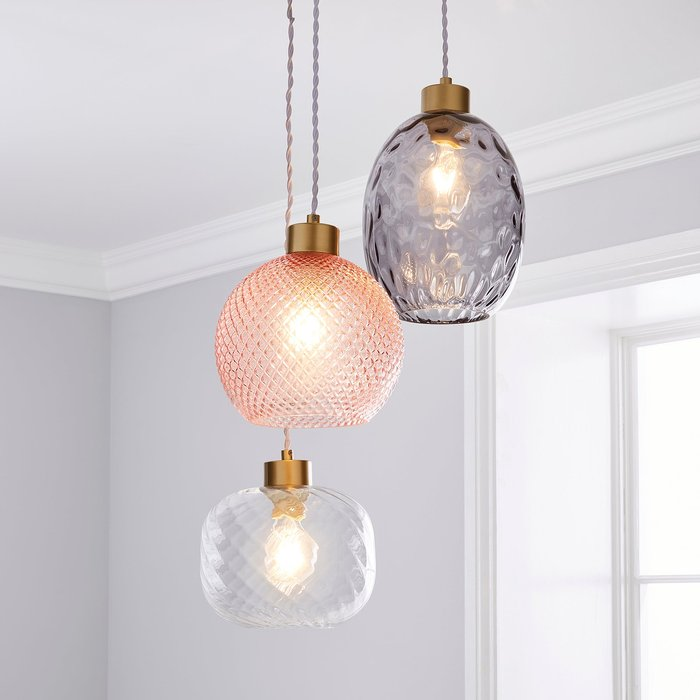 Elodie Glass Cluster Multicoloured Ceiling Fitting Pink, Grey and White