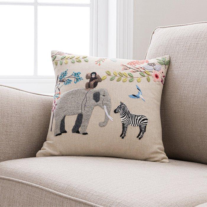 Serengeti Animals Cushion Brown/Blue/Yellow