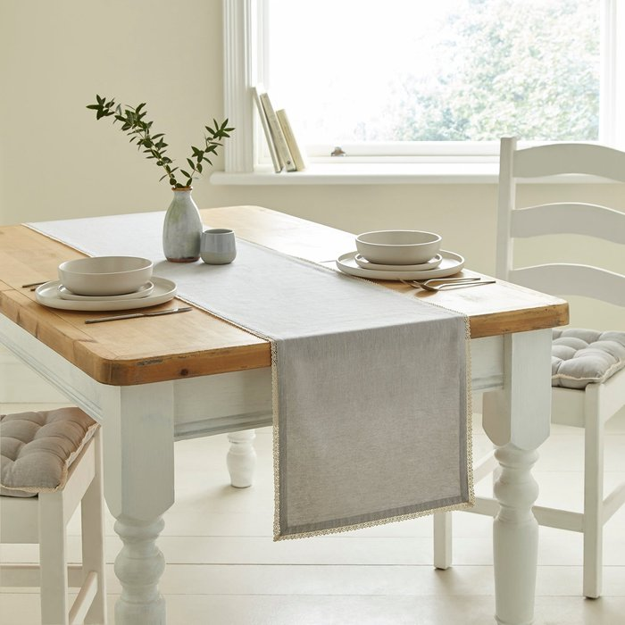 Lace Trim Dove Grey Runner Grey