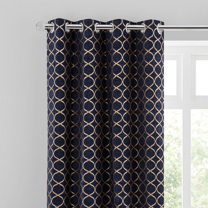 Chenille Ogee Navy Eyelet Curtains Navy Blue/Brown