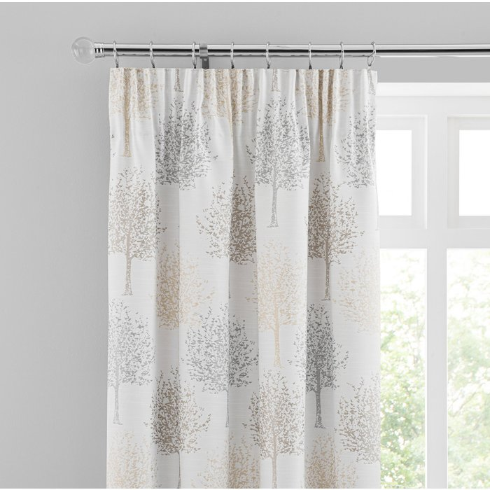Jacquard Trees Dove Grey Pencil Pleat Curtains White/Grey