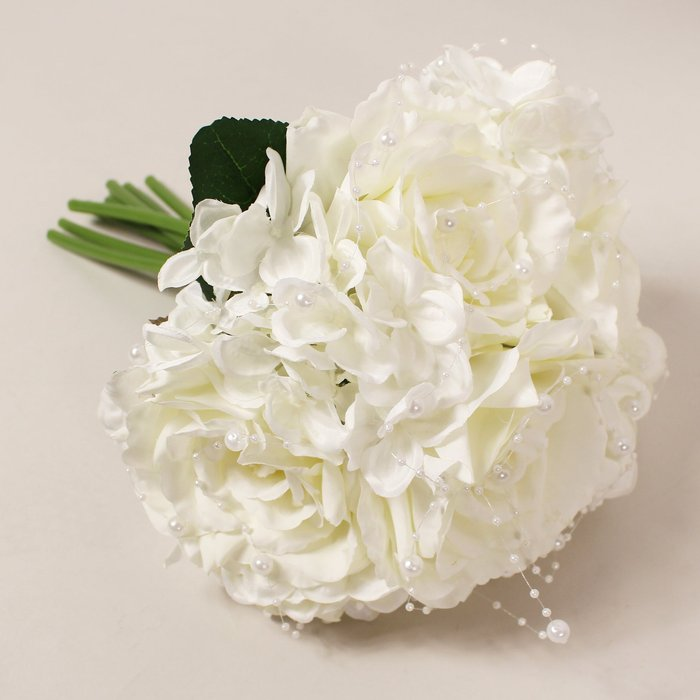 Artificial Rose Hydrangea & Pearl Bouquet White White and Green
