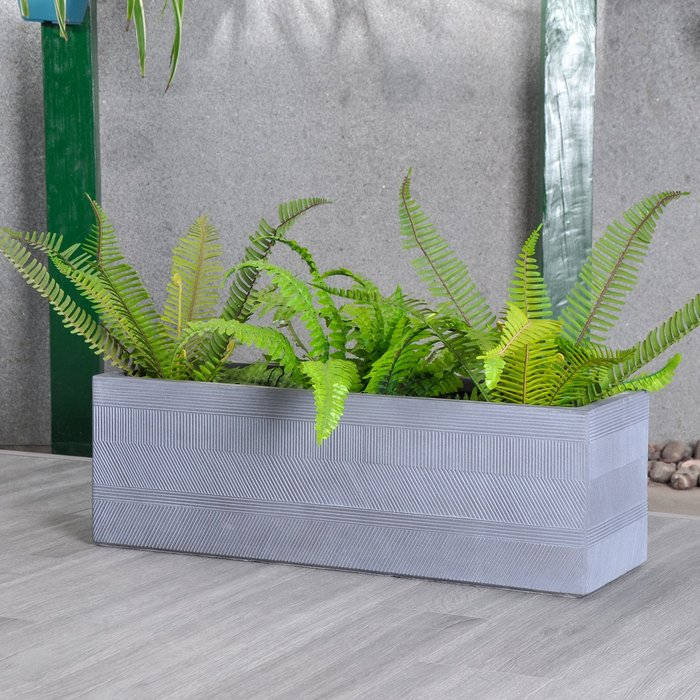 Fibre Clay Grey Striped Trough Grey