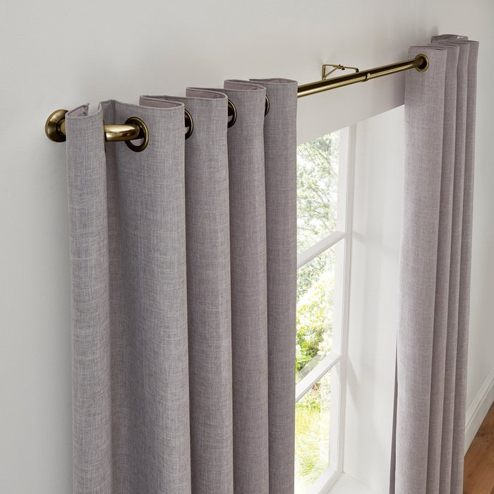 Room Darkening Metal Extendable Curtain Pole Dia. 25/28mm Black
