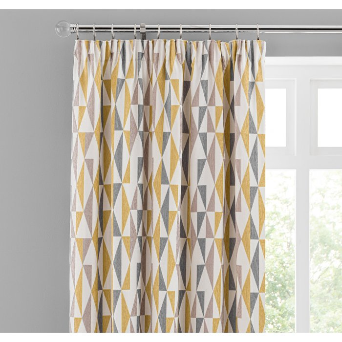 Elements Triangles Ochre Chenille Pencil Pleat Curtains Yellow, Grey and White