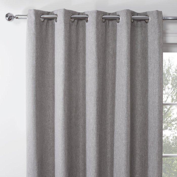 Emerson Steel Grey Eyelet Curtains Grey