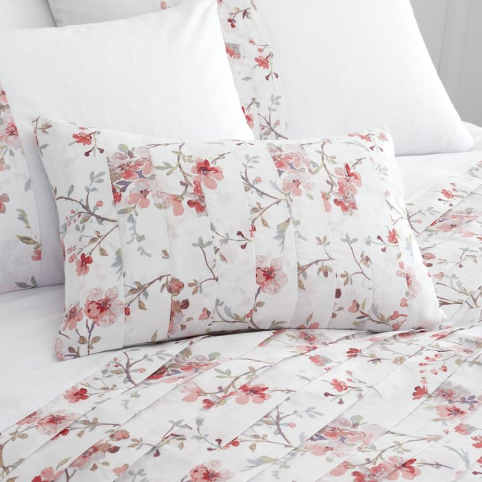 Catherine Lansfield Jasmine Floral Cushion White and Pink