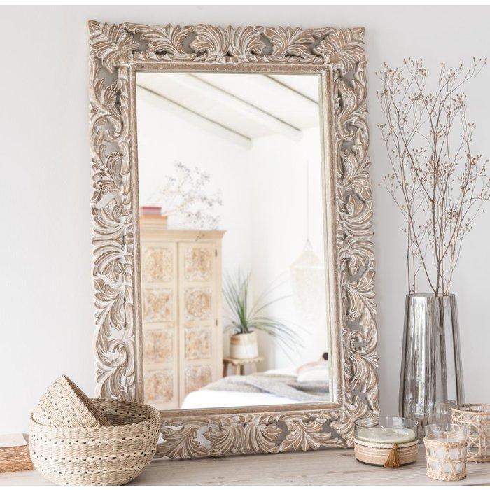 Carved Mango Wood Mirror 60x90