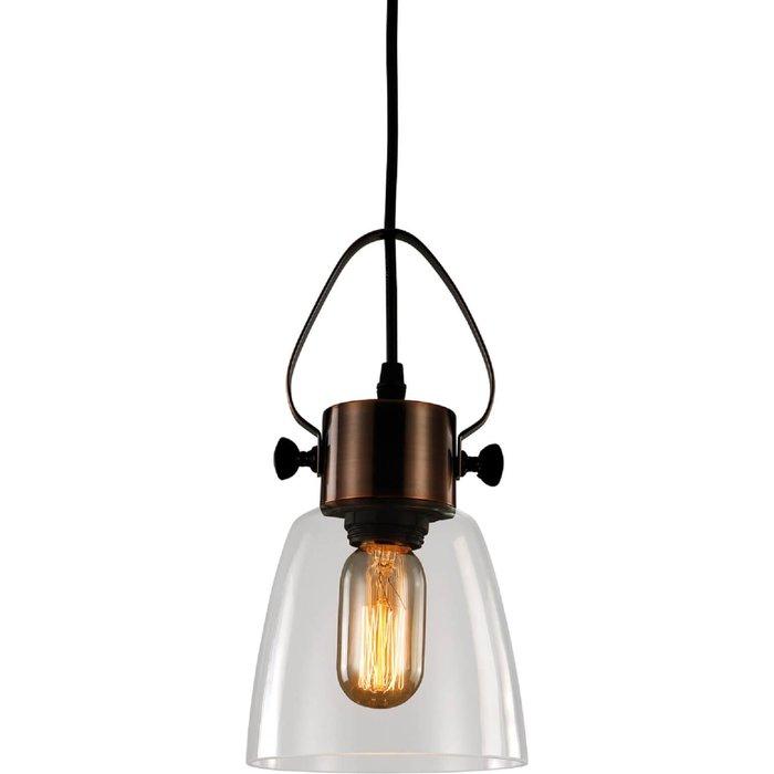 Maitland 1 Light Glass Pendant Light - Antique Copper and Black