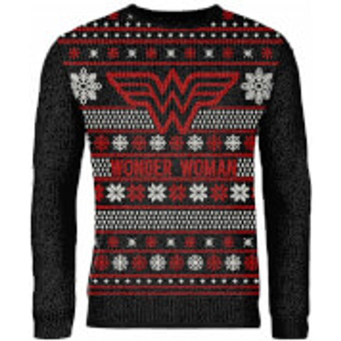 DC Zavvi Exclusive Wonder Woman Knitted Christmas Jumper - Black - L - Black