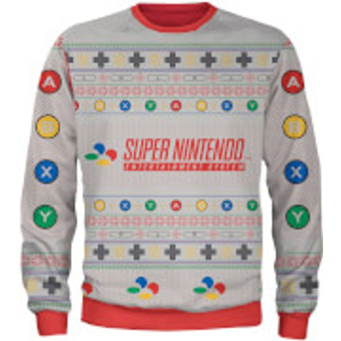Own Brand Zavvi Exclusive Nintendo SNES Xmas Knitted Jumper - Grey - M